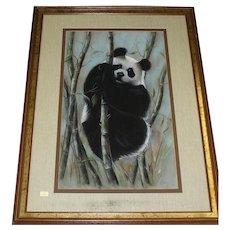 Original Mixed Media Painting of Panda Bear Climbing Among The Bamboo, Signed Maury (American 20th Century)