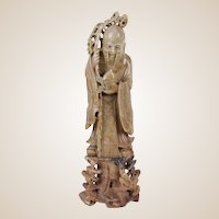 Carved Shou Lao Soapstone Sculture
