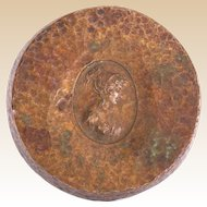 Art Nouveau Bronze Paperweight With Profile Of Greek Goddess or Noblewoman In High Relief In Center Recess
