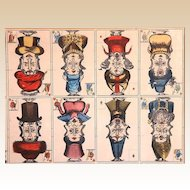 Uncut Sheet of Playing Cards, 19th Century Hand-Colored