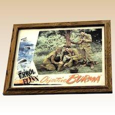 """ERROL FLYNN Original Lobby Card """"Objective Burma"""" c. 1945"""