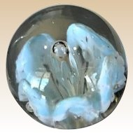 Large Art Glass Paperweight With Blossoming Baby Blue Flower And Central Emerging Bubble