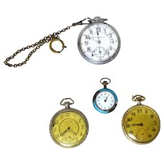 FOUR Vintage Pocket Watches - 14 karat Gold-Filled Stuyvesant,  Waltham, Lady Tess, and Burlington - Red Tag Sale Item
