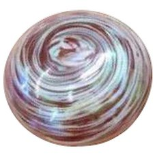 Beautiful Art Glass Paperweight With Disk Shape And Swirls of Color