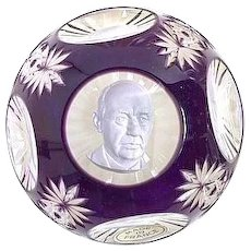 Baccarat Limited Edition Signed Sulfide Paperweight Of Statesman Adlai E. Stevenson, c. 1968