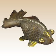 Chinese Bronze Goldfish Vintage Paperweight, Large