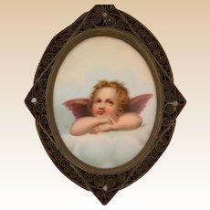 Porcelain Oval Cherub, Nicely Framed