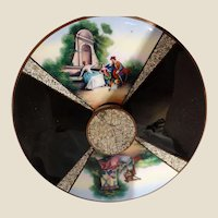 Exquisite Antique Boudoir Mirror With Enamel Scenes Divided By Eggshell Enamel