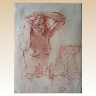 "Sergei Petrovich Ivanoff (Russian, 1893-1983) ""Woman at her Dressing Table"", 1945, Original Conte Crayon On Paper, Signed/Dated"