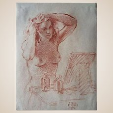 """Sergei Petrovich Ivanoff (Russian, 1893-1983) """"Woman at her Dressing Table"""", 1945, Original Conte Crayon On Paper, Signed/Dated"""
