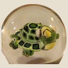 """Signed and Dated """"Turtle"""" Art Glass Paperweight, Absolutely Adorable!  By Harry Boyer, c 1986."""