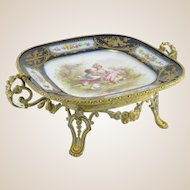 Antique Fine French Gilt Bronze And Chateau De Tuileries Hand-Painted Sevres Porcelain Plateau Dish, Signed