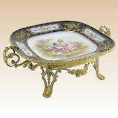 Antique Fine French Gilt Bronze And Chateau De Tuileries Hand-Painted Sevres Porcelain Plateau Dish, Signed