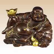 Chinese Bronze Sculpture - Happy Buddha, Signed Xuande Mark