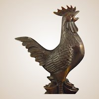 Bronze Sculpture - Lucky Cock, Signed, From China