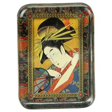 Japanese Geisha Portrait In Glass Paperweight