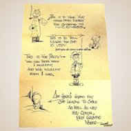 """Walter """"Walt"""" Kelly (American, 1913 - 1973) Original Pencil Drawing/Sketch And Illustrated Letter, Postmarked 1935."""