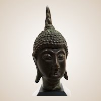 Bronze Bust of Buddha Mounted On Wooden Base
