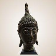 Bronze Bust of Buddha Mounted On Wooden Base