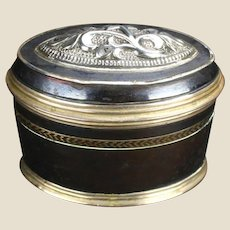 19th Century Black Enameled Copper & Silver Snuff Box