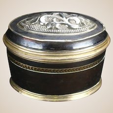 19th Centurty Black Enameled Copper & Silver Snuff Box
