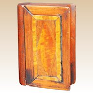 19th century Carved and Inlaid Wood Snuff Box, Book Puzzle Form