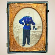 Civil War Union Soldier Carte de Visite, Hand-Colored,