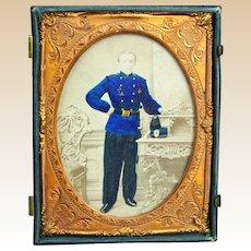 Civil War Union Soldier Carte de Visite, Hand-Colored,
