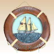 """Tootie Somerville"" - Original Painting On Carved Nautical Wood/Mixed Media Life Ring"