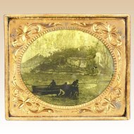 Civil War Era, Circa 1860, Sixth Plate, Brass, Orotype of Three Men With Dinghy, Open Water, Mountains,
