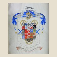 """Mixed Media  - Weasel Coat of Arms, """"Past and Future Help"""" - 19th Century"""