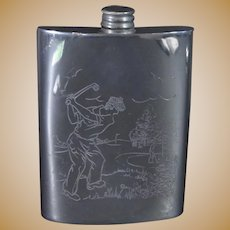 Antique Silver-Plated Golf Flask, Circa 1900