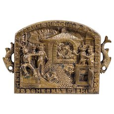 "Antique Brass Plaque With ""Test Oven,"" Safes, Seven Men, And Fish!  Farrel, Herring & Co. Philadelphia, PA,"