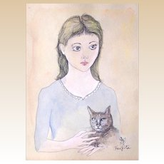 """TSUGUHARU FOUJITA (Japanese 1886-1968) """"Fille Avec Chat""""  Gouache On Paper, Signed and Dated 1959. -"""