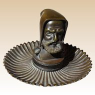 Antique Bronze Inkwell Of A Monk With Hood
