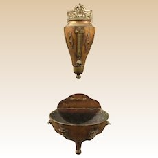Copper Water Reservoir And Drip Bowl With Applied Accents -