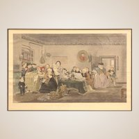 """Sir David Wilkie (Scotland/UK/United States/Spain 1785 – 1841) Large Signed Antique Hand-Colored Print - """"The Reading of The Will"""""""