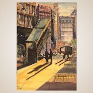 """""""Shadows In The City"""" - Original Watercolor, Signed Listed Artist Michi Raphael (American 20th Century)"""