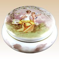 SIGNED 19th Century French Opaline Glass Lidded JarHand-Painted By Verjot