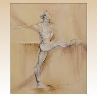"""Ballet Dancer"" - Sensuous Stylized Original Acrylic on Canvas, Cynthia Ruskin (American 20th/21st Century)"
