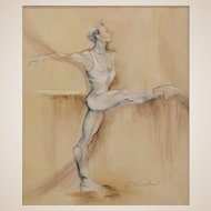 """Ballet Dancer"" - Sensuous Stylized Original Acrylic on Canvas, Cynthia Ruskin (American 20th/21st Century)"