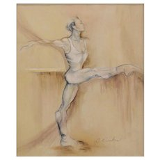 """Ballet Dancer"" - Sensuous Stylized Signed Original Acrylic on Canvas, Cynthia Ruskin (American 20th/21st Century)"