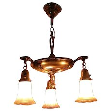 Art Deco Brass Chandelier with Zephyr Gold Luster Pattern Shades