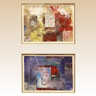 Two Original Signed Mixed Media Paintings, Framed Together For A Very Special Presentation