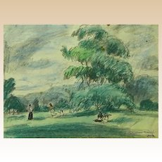 """Well-Listed Artist HERMINE DAVID, (French 1886 - 1971)  Original Signed """"Country Landscape"""""""