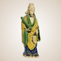 Standing Chinese Sage Mudman With Flute (Symbolic of Giving Life) and Flywhisk (Symbol of Authority)