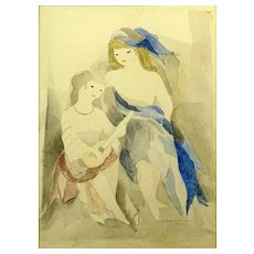 "MARIE LAURENCIN (French 1885 - 1956) Original Signed Watercolor ""Two Girls"""