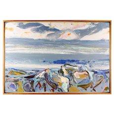 "Bernard Chaet (American, 1924 - 2012), ""Blue Rocks at Sunrise,"" Original Signed Oil On Canvas"