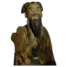 Unusual Chinese Mudman Seated Sage With Fan (Symbol of Authority)