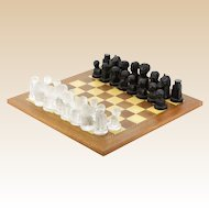 Continental Mid-20th Century Frosted Clear and Black Crystal Chess Set With Inlaid Wood Chess Board